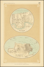 San Francisco & Bay Area and New Orleans Map By Henry Darwin Rogers  &  Alexander Keith Johnston
