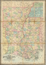 South, Louisiana, Mississippi, Arkansas and Civil War Map By Edward Mendenhall