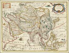 Asia Map By Melchior Tavernier / Petrus Bertius / Michel Van Lochem