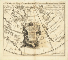 World, Atlantic Ocean, United States, North America and Caribbean Map By Anonymous / George Bickham