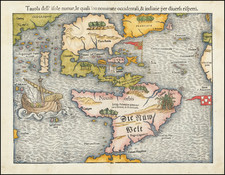 [First Map of the American Continent]  Tavola dell' isole nuove, le quali son nominate occidentali, & indiane per diversi rispetti. By Sebastian Munster