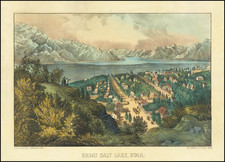 Utah and Utah Map By Nathaniel Currier  &  James Merritt Ives