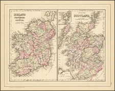 Ireland in Provinces and Counties [with] County Map of Scotland By Samuel Augustus Mitchell Jr.