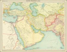 Central Asia & Caucasus, Middle East, Arabian Peninsula and Persia Map By Times Atlas