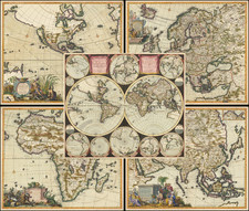 World, North America, South America, Europe, Asia, Africa and America Map By Carel Allard / Dirk Jansz. Van Santen