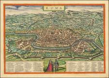 Rome Map By Georg Braun  &  Frans Hogenberg