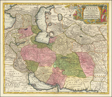Central Asia & Caucasus, Middle East and Persia & Iraq Map By Tobias Conrad Lotter