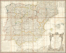 Spain and Portugal Map By Tomás López