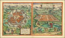 Mexico and Peru & Ecuador Map By Georg Braun  &  Frans Hogenberg