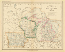 Michigan, Wisconsin and Iowa Map By Henry Darwin Rogers / Alexander Keith Johnston