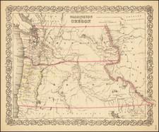 Oregon and Washington Map By Joseph Hutchins Colton