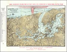Washington and Canada Map By Puget Sound Navigation Company