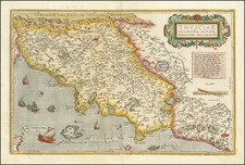 Thusciae Descriptio Autctore Hieronimo Bellarmato [Finely annotated on verso!] By Abraham Ortelius