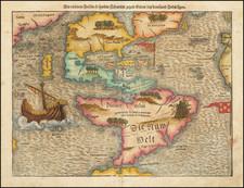 Tabula novarum insularum, quas Diversis respectibus Occidentales & Indianas uocant.  [1st Map of the continent of America] By Sebastian Munster