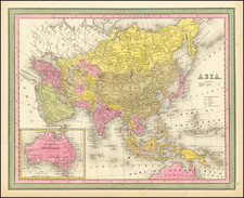 Asia and Australia Map By Samuel Augustus Mitchell