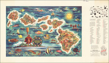 Hawaii, Hawaii and Pictorial Maps Map By Hawaiian Pineapple Company