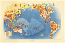 Pacific Ocean, North America, South America, Southeast Asia, Pacific and Pictorial Maps Map By Schwabacher-Frey Co. / H.S. Crocker Co. / Miguel Covarrubias