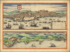 Portugal Map By Georg Braun  &  Frans Hogenberg