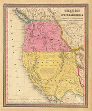 Southwest, Arizona, Utah, Nevada, Rocky Mountains, Idaho, Utah, Oregon, Washington and California Map By Samuel Augustus Mitchell
