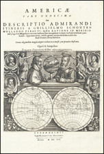 World, Title Pages and Portraits & People Map By Theodor De Bry / Willem Schouten