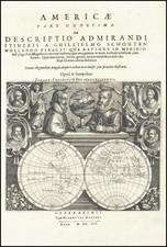 [Untitled Map -- Double Hemisphere Map with Portraits of Magellan, Schoten, Drake, Von Noort, Cavendish, and Speilbergen By Theodor De Bry / Willem Schouten