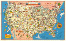United States and Pictorial Maps Map By Greyhound Company
