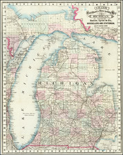 Michigan Map By George F. Cram
