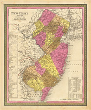 New Jersey Map By Samuel Augustus Mitchell