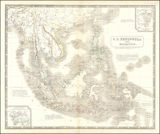 Philippines, Singapore, Indonesia, Malaysia and Thailand, Cambodia, Vietnam Map By W. & A.K. Johnston