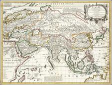 Asia Map By Vincenzo Maria Coronelli / Jean-Baptiste Nolin