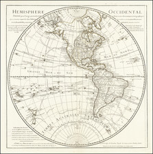 Western Hemisphere, Polar Maps, Pacific Ocean, Alaska, Pacific, New Zealand and Canada Map By Philippe Buache