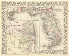 Florida and Alabama Map By Samuel Augustus Mitchell Jr.