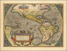 Western Hemisphere, North America, South America and America Map By Abraham Ortelius