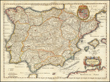 Spain and Portugal Map By Matthaus Merian