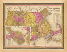 Massachusetts, Rhode Island and Boston Map By Samuel Augustus Mitchell