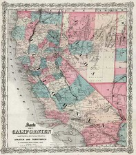 California Map By G.W.  & C.B. Colton / E. Steiger