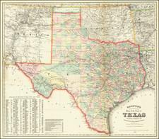 Texas Map By G.W.  & C.B. Colton