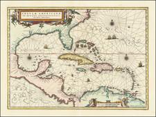 Insulae Americanae in Oceano Septentrionali cum Terris adiacentibus   By Jan Jansson