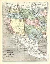 Texas, Plains, Southwest and Rocky Mountains Map By Adolphe Hippolyte Dufour