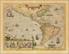 Western Hemisphere and America Map By Jodocus Hondius