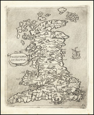 England, Scotland and Wales Map By Giovanni Francesco Camocio