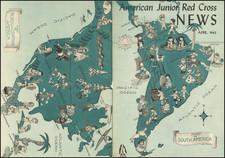 North America, South America and World War II Map By Leo Politi
