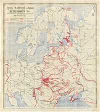Europe, Russia and World War II Map By Topo Department of the N-Section Armies