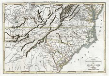 South and Southeast Map By Francois A.F. La Rochefoucault-Liancourt