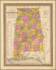 Alabama Map By Samuel Augustus Mitchell