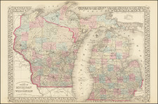 Michigan and Wisconsin Map By Samuel Augustus Mitchell Jr.