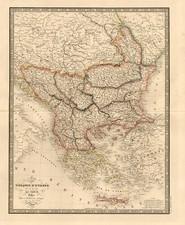 Europe, Balkans, Greece, Turkey and Balearic Islands Map By J. Andriveau-Goujon