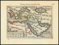 Turkey, Mediterranean, Other Islands, Central Asia & Caucasus, Middle East and Turkey & Asia Minor Map By Abraham Ortelius / Johannes Baptista Vrients