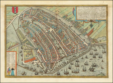 Netherlands and Amsterdam Map By Georg Braun  &  Frans Hogenberg