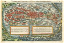 Venetiarum amplissima & maritima urbs, cum multis circumiacentibus insulis By Sebastian Munster